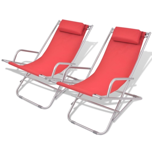 Reclining Deck Chairs 2 pcs Red Steel 69x61x94 cm