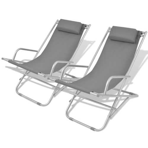 Reclining Deck Chairs 2 pcs Grey Steel 69x61x94 cm