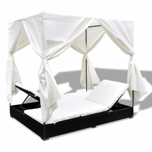 Espreguiçadeira com cortinas em poli rattan black