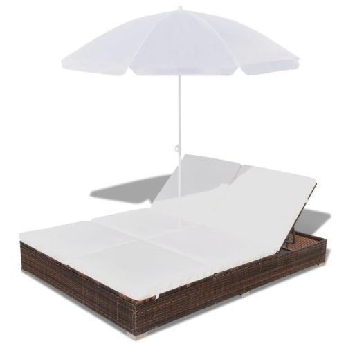 Lettino con parasole in poly rattan marrone