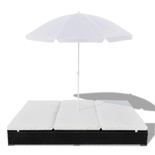 Lettino con parasole in poly rattan nero