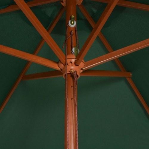 Parasol 200x300 cm wooden pole green