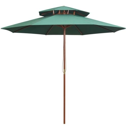 Ombrellone a due piani 270 × 270 cm palo di legno verde