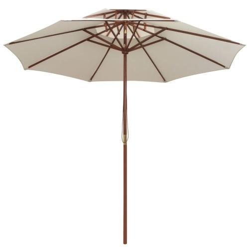Двойной палубный зонт 270 × 270 см. Деревянный брус Кремовый белый