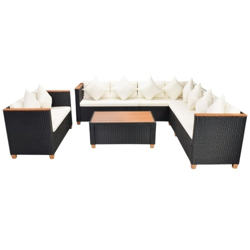 garden sofa set 31 pcs. poly rattan wpc black