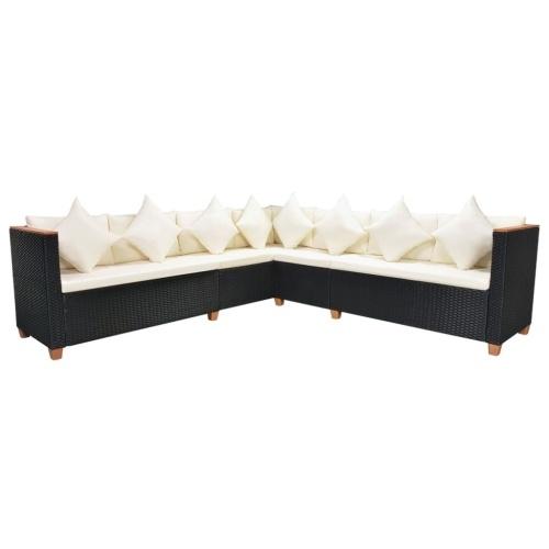 Садовый секционный диван 29 шт. Poly Rattan WPC Black