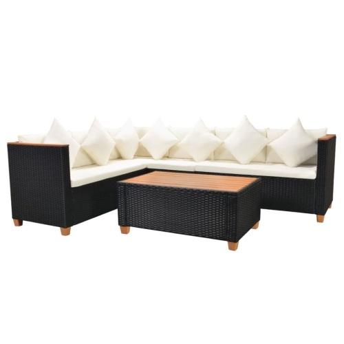 Комплект садового дивана 21 шт. Poly Rattan WPC Black