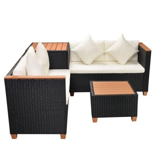 Садовый секционный диван 14 шт. Poly Rattan WPC Black