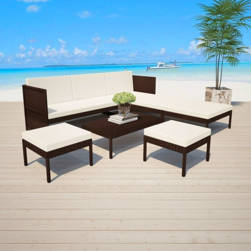 15 Piece Garden Sofa Set Poly Rattan Brown