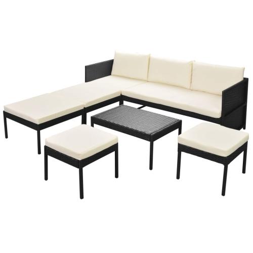 15 Stück Garten Sofa Set Poly Rattan Schwarz