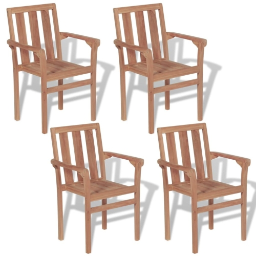43041 Outdoor Stackable Chairs 4 pcs Solid Teak