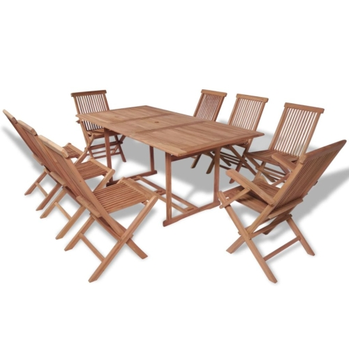 Nine Piece Outdoor Dining Set Teak