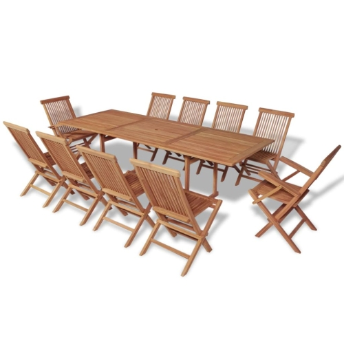 11 Piece Outdoor Dining Set Teak