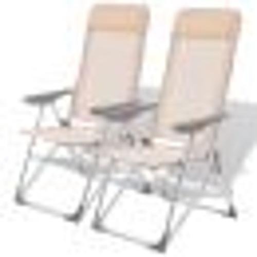 Кемпинговые стулья 2 шт. Крем-алюминий 56 х 60 х 112 см