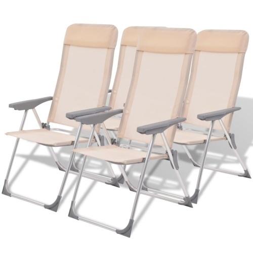 Cadeiras de campismo 4 peças Alumínio creme 56 x 60 x 112 cm