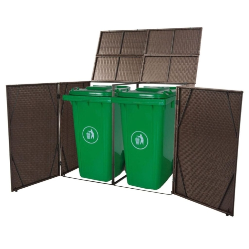 Double Wheelie Bin Shed Poly Rattan Brown