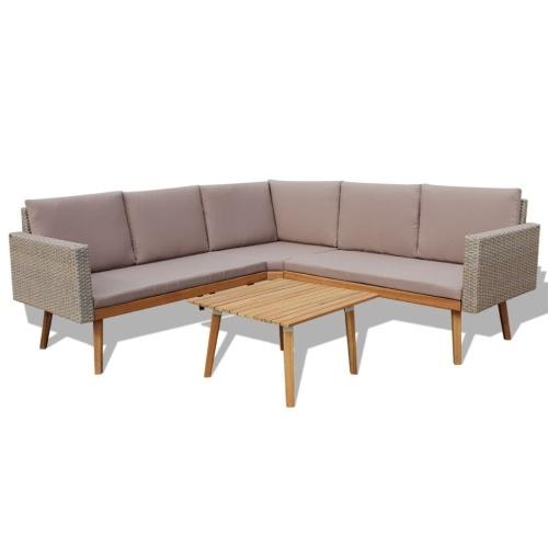 Комплект садового дивана 13 шт. Поли ротанговый серый