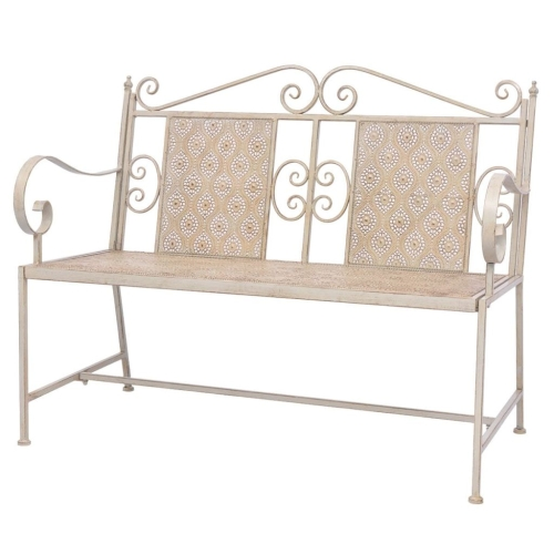 Garden Bench Steel 115x58.5x93 cm White