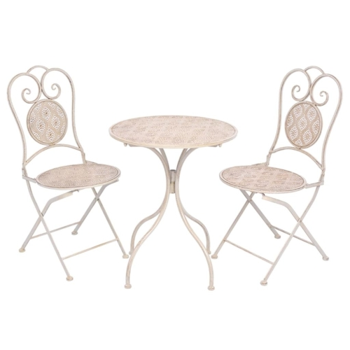 Three Piece Bistro Set Steel White