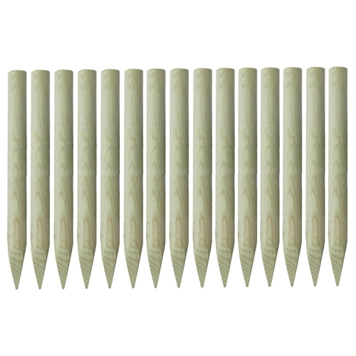 Pointed Fence Posts 15pcs Impregnated Pinewood 100% FSC 4x100cm