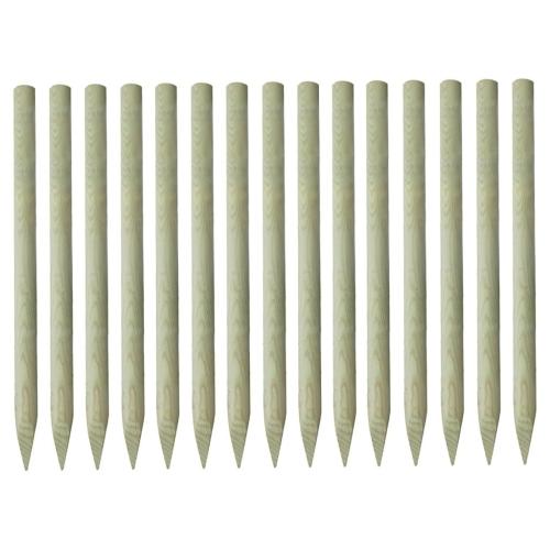 Заостренные заборные стойки 15шт. Пропитанный сосновый шпон 100% FSC 4x150см