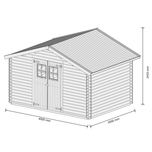Image of 34 mm 4 x 3 m Gartenhaus Blockhaus Massivholz
