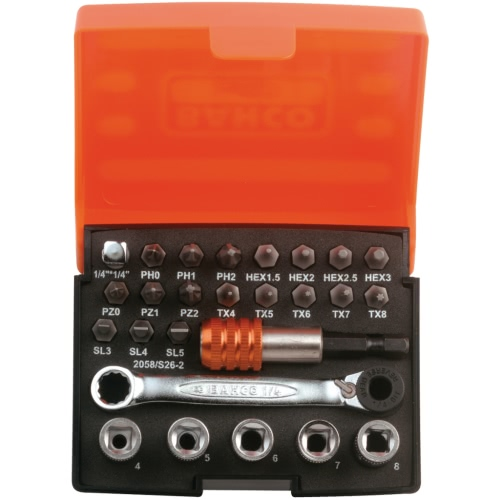 Bahco 26-Piece Set Slotted,Phillips,Pozidriv,Hexagon,Torx Head Screws