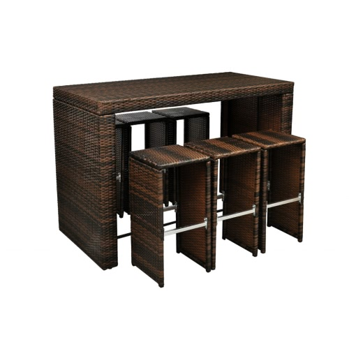 Brown Poly Rattan Garden Bar Set