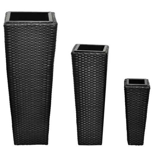 3 Rattan Flower Pots - Black
