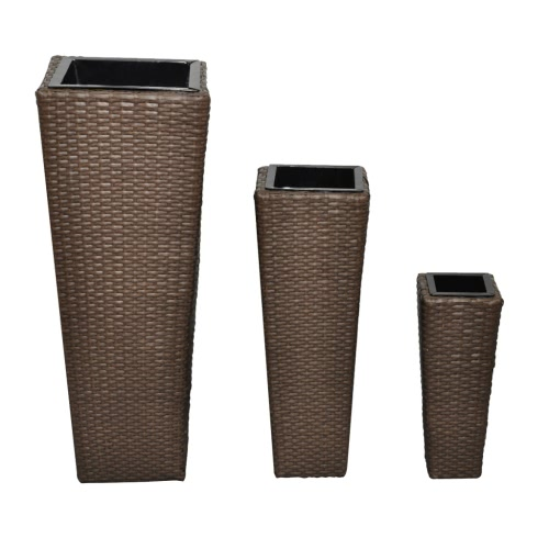 3 Rattan Flower Pots Brown