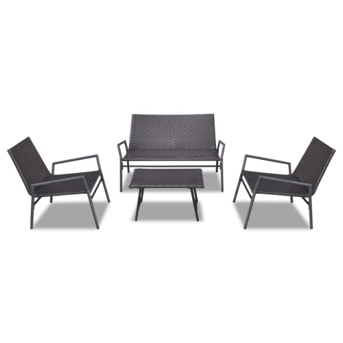 Brown Poly Rattan Chair Set Table Outdoor Garden Furniture Set 4 pcs
