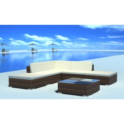 Garden Poly Rattan Lounge Set High-quality Garden Furniture Brown