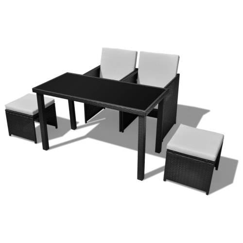 Noir Poly Rotin Dinning Set de table 2 chiars 2 tabourets