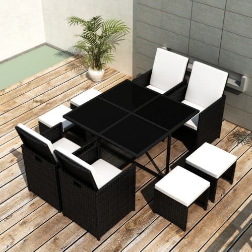 Black Poly Rattan Dinning Set Table 4 Chiars 4 Stools