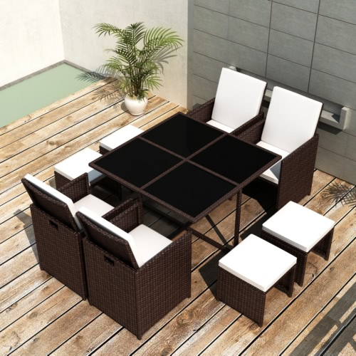 Brown Poly Rotin Dining Set de table 4 chaises 4 tabourets