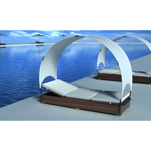 Rattan Lounge Bed Brown with Canopy