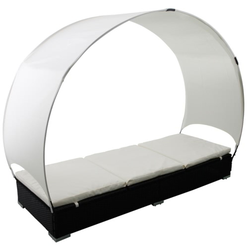 Rattan Lounge Bed Black with Canopy