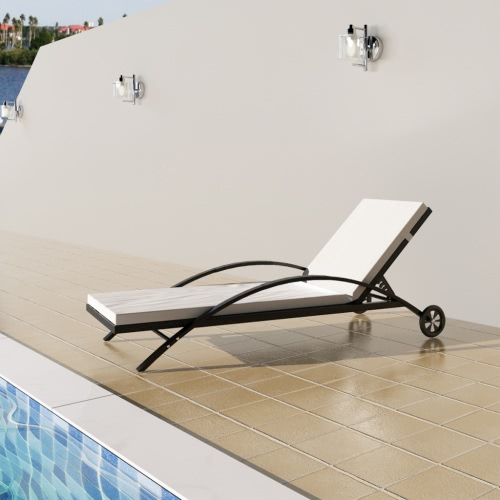 Rattan Sunbed Backrest Adjustable Black
