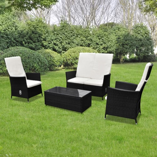 Black Outdoor Poly Rattan Furniture Set 2+1+1 Multi-functional