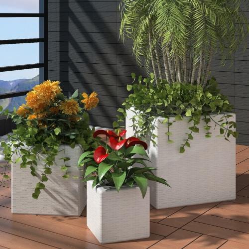 Garden Square Rattan Planter Set 3 pcs White