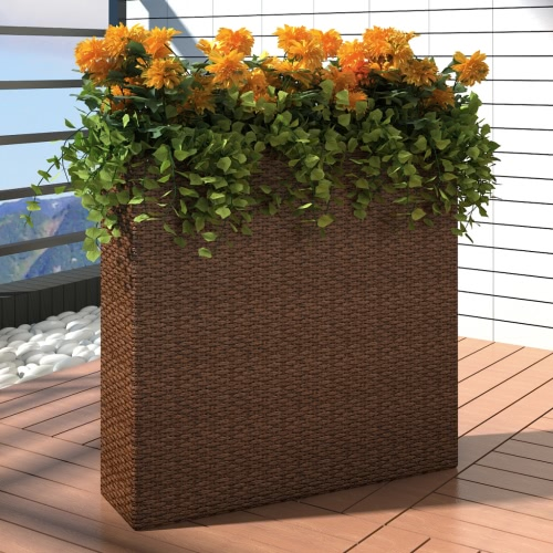 Garden Rectangle Rattan Planter Set Brown