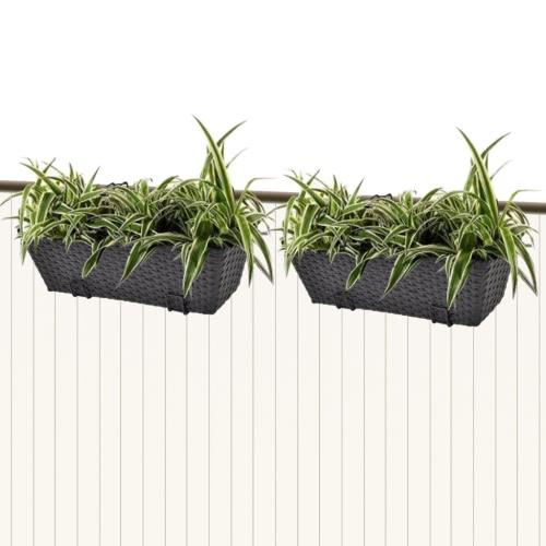 2ST Rattan Balkon Trapezoid Planter Set 50cm Schwarz