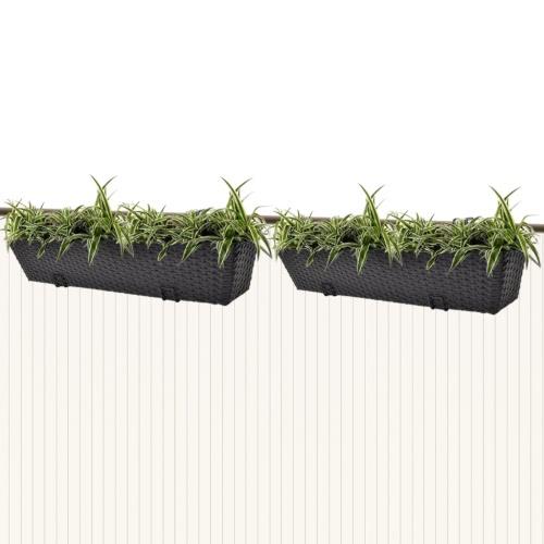 Balkon Trapezoid Rattan Pflanzer Set 80 cm 2 Stück schwarz