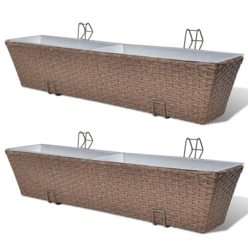 Balkon Trapezoid Rattan Pflanzer Set 80 cm 2 Stück Brown