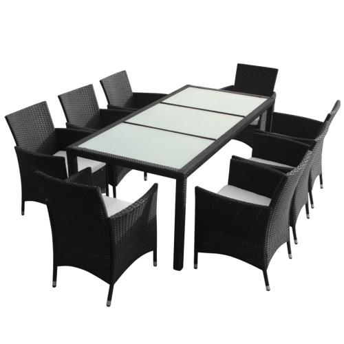 Polyrattan Gartenmöbel Set Schwarz 8 Stühle 1 Tisch Tomtopcom