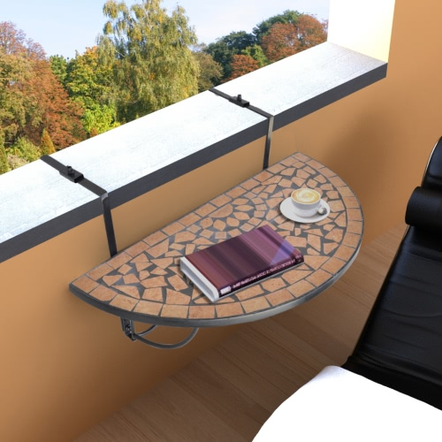 Mosaïque Balcon Table Hanging Terracotta semi-circulaire