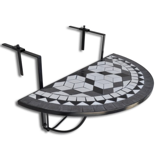 Mosaic Balcony Table Hanging Semi-circular Black White
