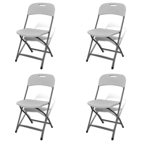 Foldable Garden Chair Set 4 pcs White Durable HDPE