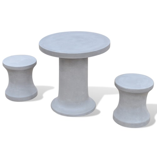 Concrete Furniture Set 2 Stools 1 Table Outdoor