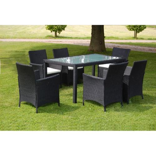 Черный Poly Ротанг Мебель для сада Набор 1 Таблица 6 Стулья